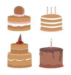 Set of Cake icons. Isolated on white