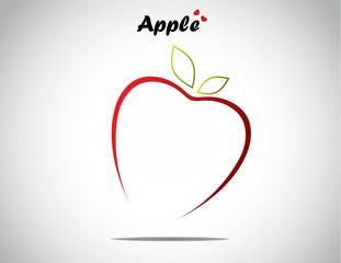 unique love apple fruit concept design vector illustration art