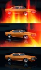 Vintage car in flames