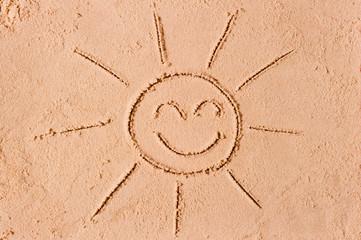 Figure joyous sun on the sand