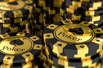 Group of gold poker chips
