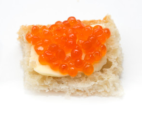 red caviar on bread with butter