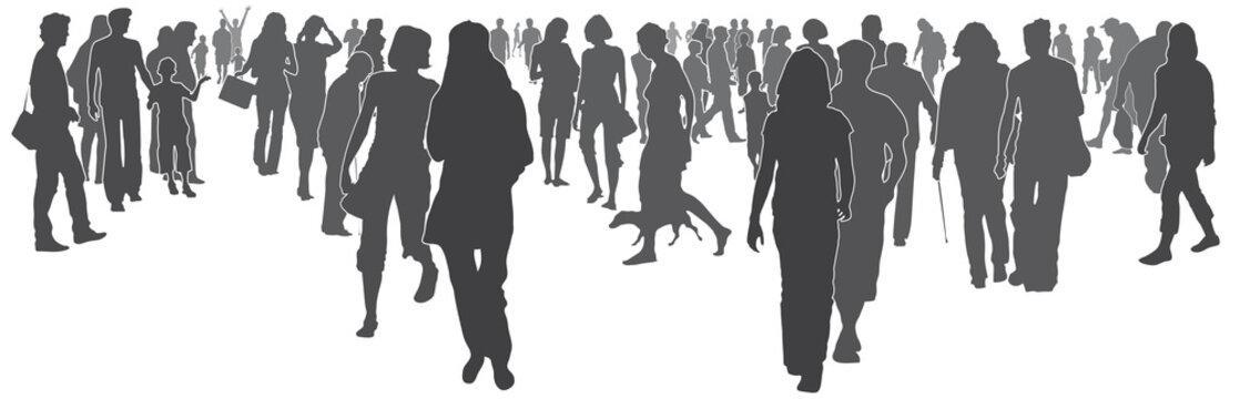 Menschen in der Stadt - Silhouette vektor, anonyme Menschenmenge, Menschengruppe, Stadtleben der Zukunft, Vision von Gemeinschaft, Kundgebung, Ansammlung von Menschen, Demo, abstrakt, isoliert, vektor