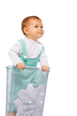 Baby girl stand in the basket bin