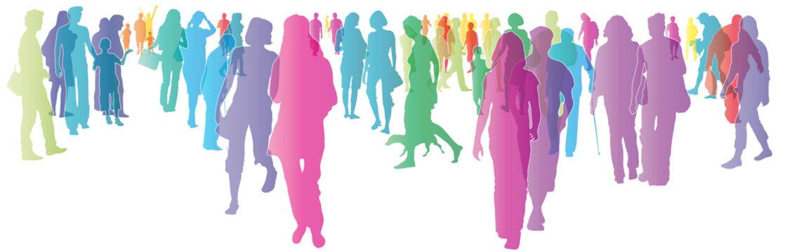 Menschen in der Stadt, Menschengruppe, Menschenmenge, Gemeinschaft leben und gestalten, Unterstützung, Hilfe, Fußgänger, Fußgängerverkehr, Soziologie, soziales Verhalten, Silhouette, vektor