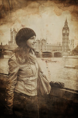 Fotomurales - Aged Vintage Retro Picture of Woman in Front of Big Ben