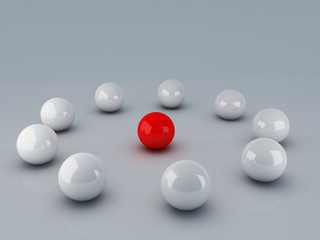 Red leader ball of white teamwork concept