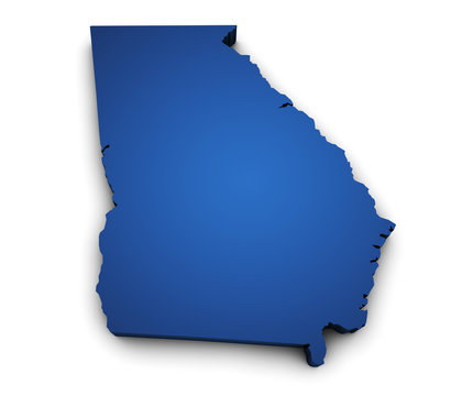 Map Of Georgia State 3d Shape