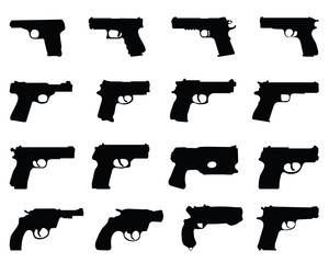 Black silhouettes of different guns, vector