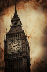 Wall Mural - Aged Vintage Retro Picture of Big Ben in London