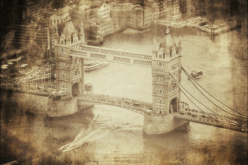Wall Mural - Vintage Retro Picture of Tower Bridge in London, UK