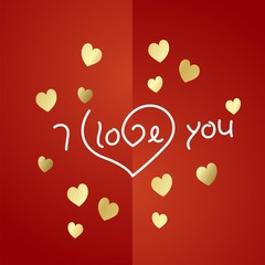 I love you gold heart background vector