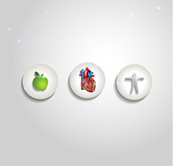 Human heart and health care symbols, cardiology icons