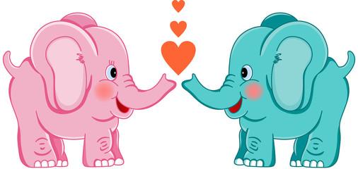 Cute Elephants in Love