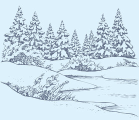 Vector sketch. Winter forest landscape with frozen river