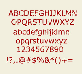 Grungy rubber stamp style alphabet vector