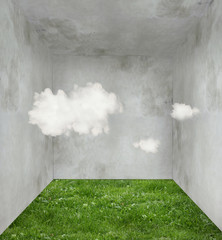 Garden Poster Surrealism Clouds and grass in a room