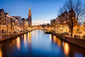 Poster Amsterdam Amsterdam at night, Netherlands