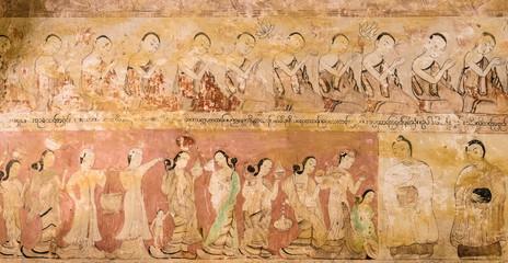 Ancient Burmese mural in Bagan temple, Myanmar