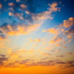 Yellow Blue Sunrise Sky With Sunlight