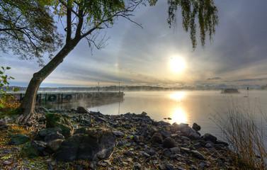 Beautiful autumn scenery of Swedish lake in the morning