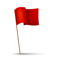 Red flag on the white background