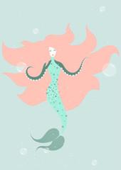 vector illustration of beautiful mermaid swimming