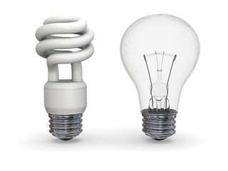 Eco and traditional lighbulbs