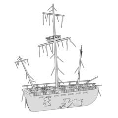 cartoon image of ship wreck