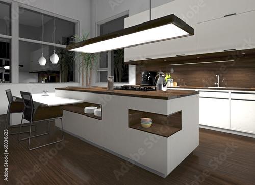 wei e k che mit holzelementen am abend stockfotos und. Black Bedroom Furniture Sets. Home Design Ideas