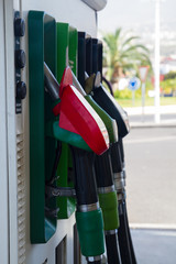 petrol station pumps close up