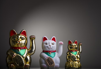 three Maneki Neki, asian luck kittens
