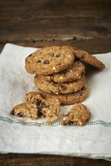 Fotobehang Koekjes chocolate chip cookies on withe cheesecloth