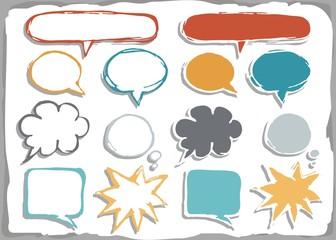 Obraz puste kolorowe dymki rozmów na białym tle zestaw  kształtów - fototapety do salonu