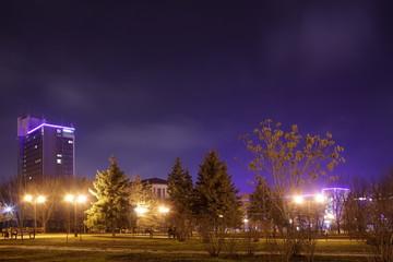 Illuminated night city lights