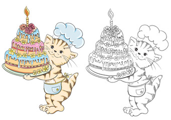 Coloring book with cartoon cat chef with birthday cake