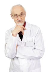 Doctor in the elderly on an isolated white background