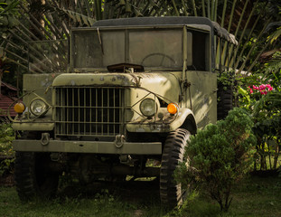 an old truck in the garden