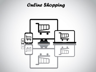 online shopping cart trolley desktop laptop tablet smartphone