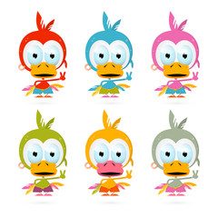 Funny Red Bird - Chicken - Duck Illustration Set