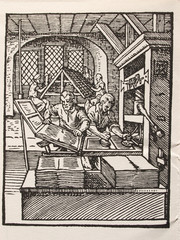 woodcut by William Caxton showing print
