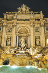 The most famous fountain in Rome, the Trevi Fountain (Italy)