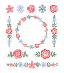 Vintage vector set of floral design elements