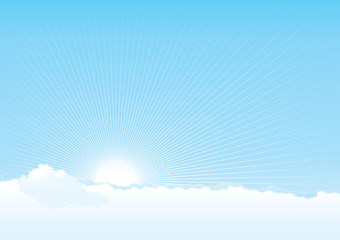 Vector background of cloudy sky with sun and  beams