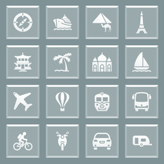 Travel white icons on glass buttons.
