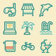 Vacation web icons, retro colors