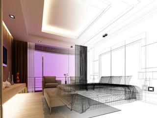 sketch design of bedroom ,3d  render