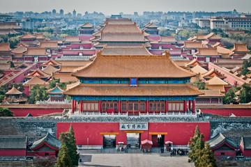 Foto op Plexiglas Beijing Aerial view on Forbidden City seen from Jingshan Park in Bejing