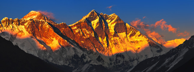 Wall Murals Nepal Everest at sunset. View from Namche Bazaar, Nepal