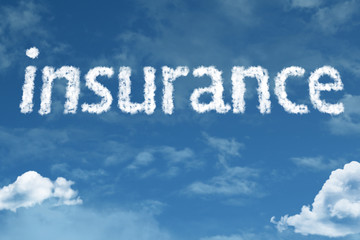Insurance text on clouds
